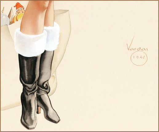 Alberto Vargas original watercolor on board painting detail depicting female legs in leather boots