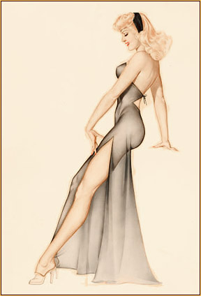 Alberto Vargas original watercolor on board painting depicting a female seminude in a negligee