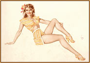 Alberto Vargas original watercolor on paper painting depicting a female seminude in a swimsuit