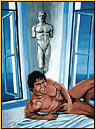 Beau original oil painting depicting a male nude