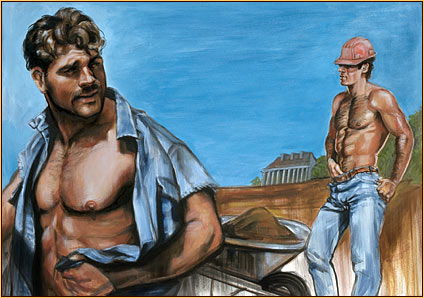 Beau original oil painting depicting two male seminudes