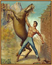 George Quaintance original oil painting depicting a male seminude taming a horse