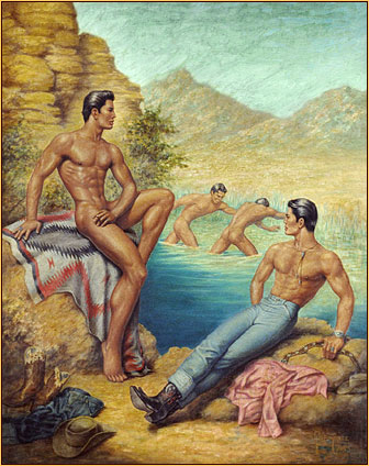 George Quaintance original oil painting depicting three male nudes and one seminude at a lake