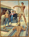 George Quaintance original oil painting depicting two male nudes bathing, one male seminude undressing, and a cowboy