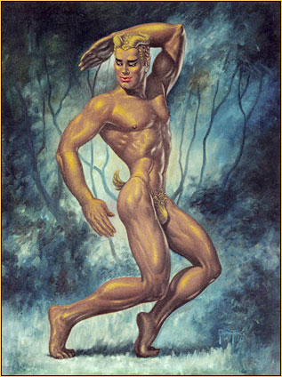 George Quaintance original oil painting depicting a male seminude in a ballet pose