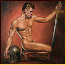 George Quaintance original oil painting depicting a male nude posing with a helmet and a sword