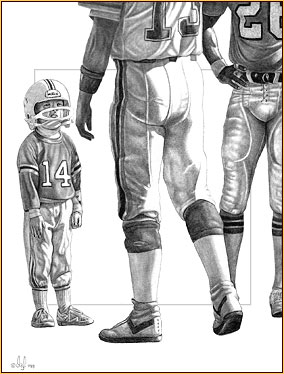 Olaf original graphite drawing depicting three football players