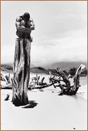 Tom Bianchi original gelatin silver print depicting a male nude sitting on a tree stump