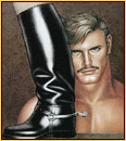 Tom of Finland original limited edition color lithograph depicting a male nude and a leather boot