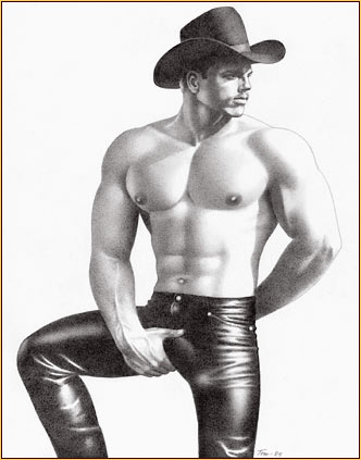 Tom of Finland original graphite on paper drawing depicting a seminude cowboy