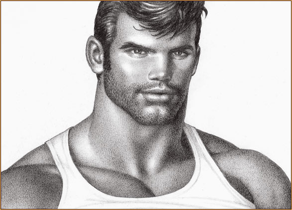 Tom of Finland original graphite on paper drawing depicting a male seminude in a tank top (Detail)