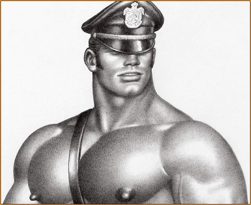 Tom of Finland original graphite on paper drawing depicting a male seminude in leather gear (Detail)