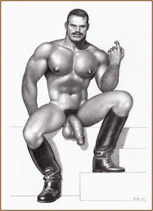 Tom of Finland original graphite on paper drawing depicting a male nude in leather boots