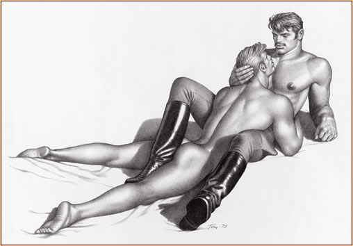 Tom of Finland original graphite on paper drawing depicting a male seminude embracing a male nude