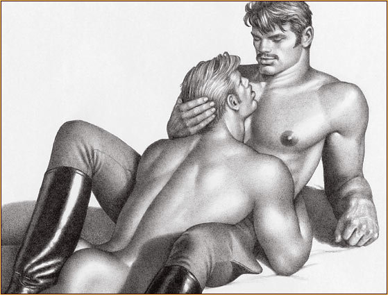 Tom of Finland original graphite on paper drawing depicting a male seminude embracing a male nude (Detail)