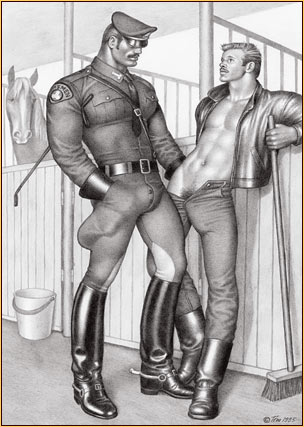 Tom of Finland original graphite on paper drawing depicting a male figure in uniform and a male seminude