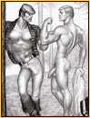 Tom of Finland original graphite on paper drawing depicting a lumberjack and a male nude