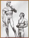 Tom of Finland original graphite on paper drawing depicting Michelangelo's David and a male tourist