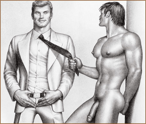 Tom of Finland original graphite on paper drawing depicting a male nude and a male figure in a suit (Detail)