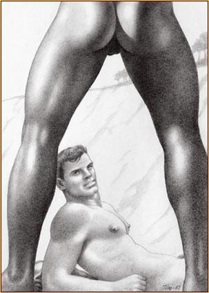 Tom of Finland original graphite on paper drawing depicting two male nudes