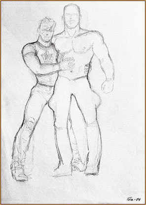 Tom of Finland original graphite on paper study drawing depicting two male seminudes hugging