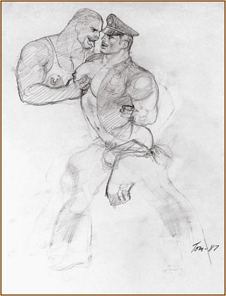 Tom of Finland original graphite on paper study drawing depicting two male seminudes embracing