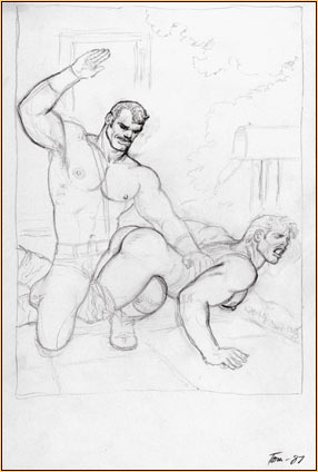 Tom of Finland original graphite on paper study drawing depicting a male seminude spanking a male figure
