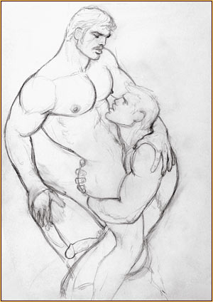 Tom of Finland original graphite on paper study drawing depicting two male nudes embracing