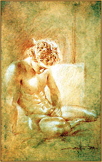 Walter Girotto colored pencil drawing depicting a male nude